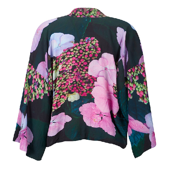 Back view - Hydrangea floral Kimono by From My Mother's Garden