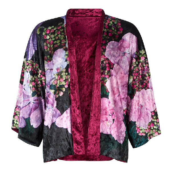 Front view - Hydrangea Velvet Kimono by From My Mother's Garden