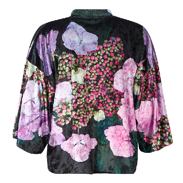 Back view - Hydrangea Velvet Kimono by From My Mother's Garden