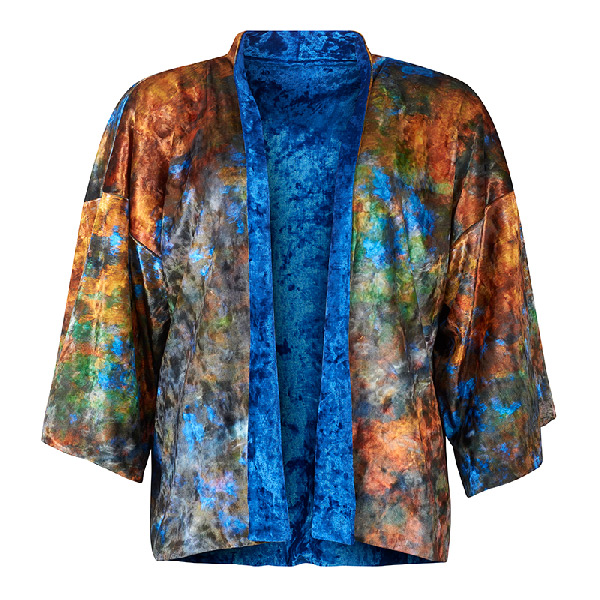 Front view - Beech Tree Reflections Velvet Kimono by From My Mother's Garden