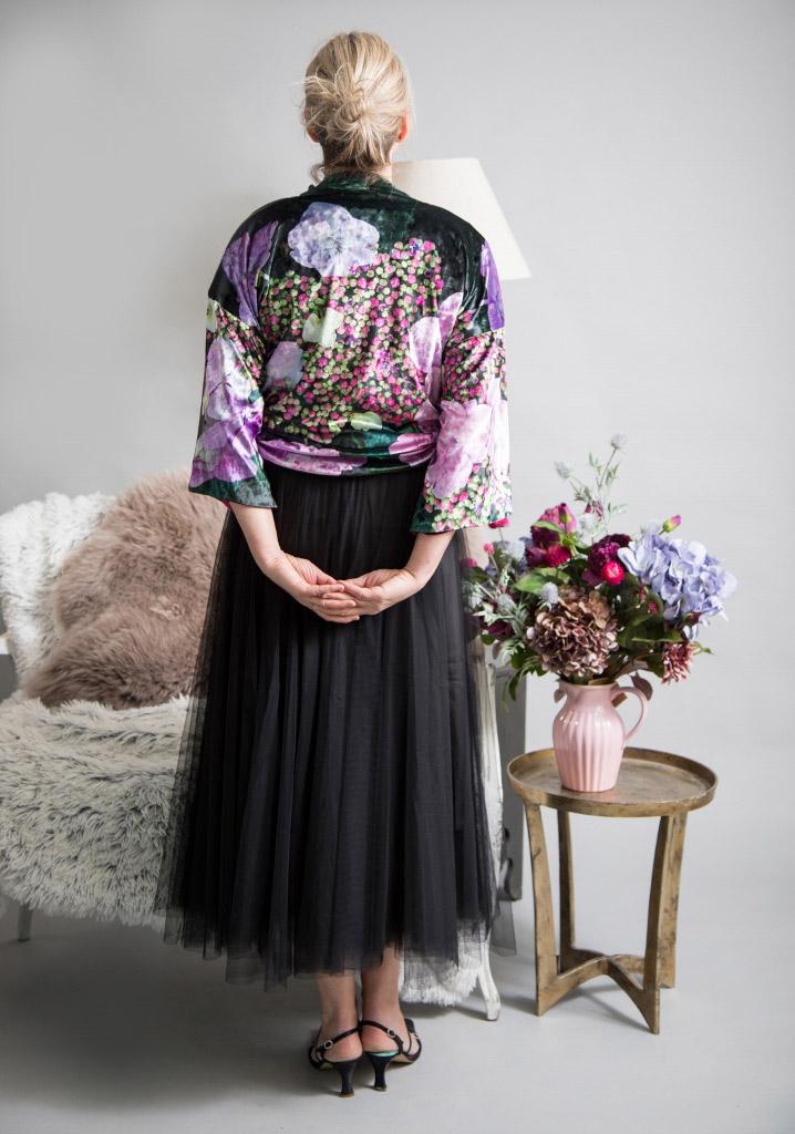 Modelling the Hydrangea Velvet Kimono by From My Mother's Garden