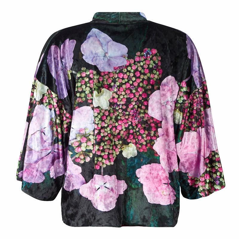 Back view - Hydrangea Velvet Kimono by From My Mother's Garden
