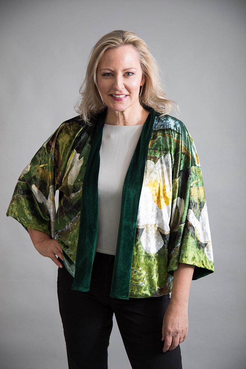 Modelling the Waterlilies Velvet Kimono by From My Mother's Garden
