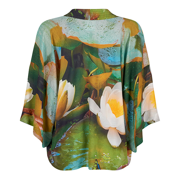 Back view - Water Lilies Floral Kimono by From My Mother's Garden