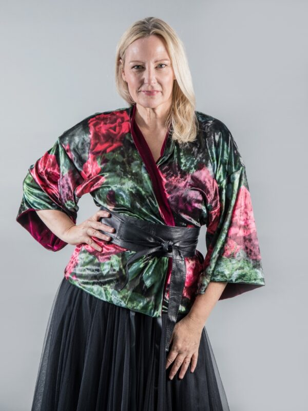 From My Mother's Garden Roses Are Red reversible velvet kimono jacket is both luxurious in its feel and style