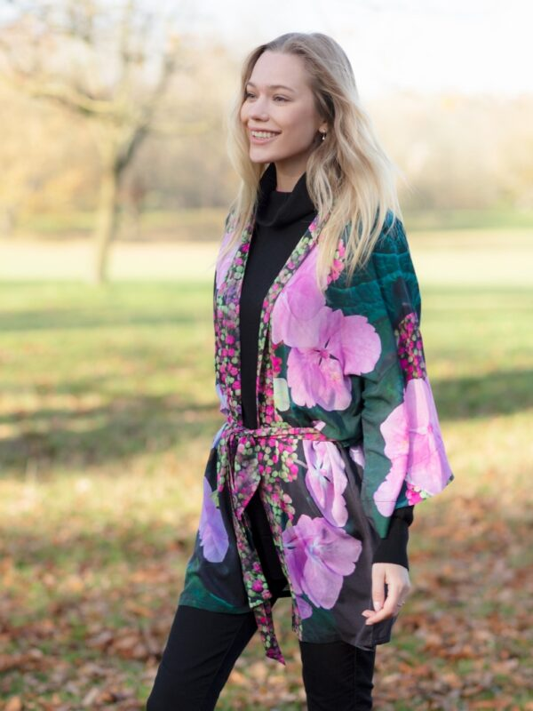 From My Mother's Garden Harmony Mini Robe in an exclusive hydrangea print