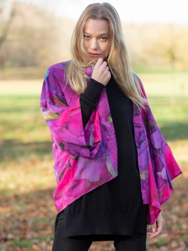 From My Mother's Garden Lightweight Kimono in an exclusive Sweetpea print